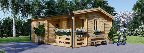 Gartenhaus aus Holz mit Terrasse NANTES (44 mm), 6x4.7 m, 24 m² + 3.5 m²