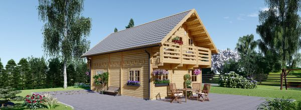 Blockbohlenhaus LANGON (120 mm) 108 m² mit extra Schneelast