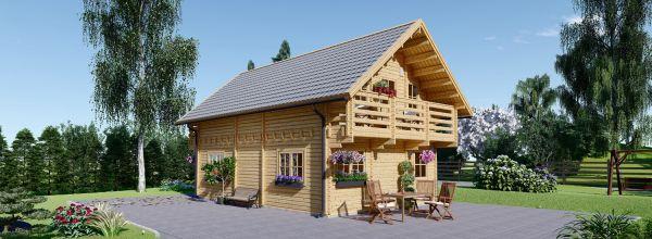 Blockbohlenhaus LANGON (66 mm) 108 m² mit extra Schneelast