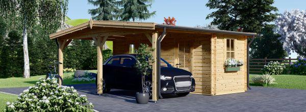 Carport aus Holz für 1 Auto mit Schuppen (44 mm), 5x6 m