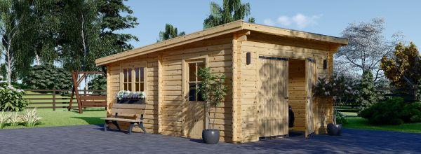 Holzgarage mit Flachdach MODERN (44 mm), 4x6 m, 24 m²