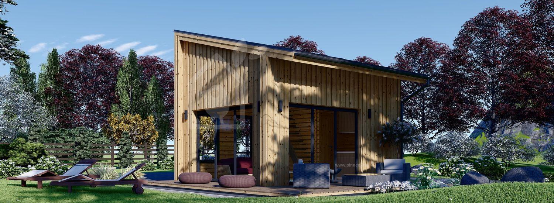 Blockbohlenhaus SOPHIA (44 mm + Holzverschalung), 20 m² visualization 1