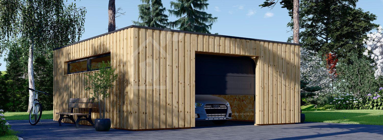 Holzgarage mit Flachdach STELA F (Elementbauweise), 6x6 m, 36 m² visualization 1