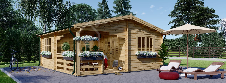 Gartenhaus aus Holz mit Terrasse OLIVIA (Isoliert, 44+44 mm), 6x6 m, 27 m² + 8 m² Terrasse visualization 1