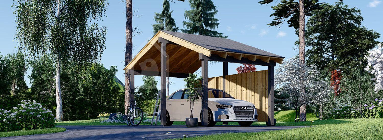 Carport aus Holz mit Seitenwand LUNA, 3.2x6 m visualization 1