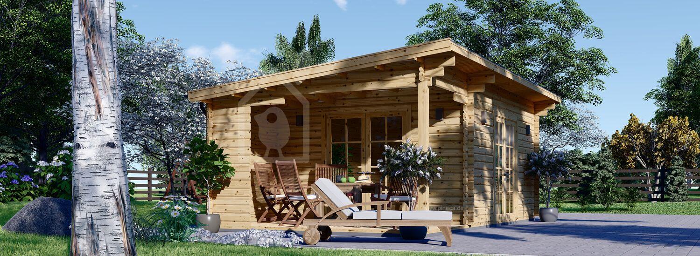 Gartenhaus aus Holz mit Terrasse CARL (34 mm), 5x4 m, 20 m² + 8 m² visualization 1