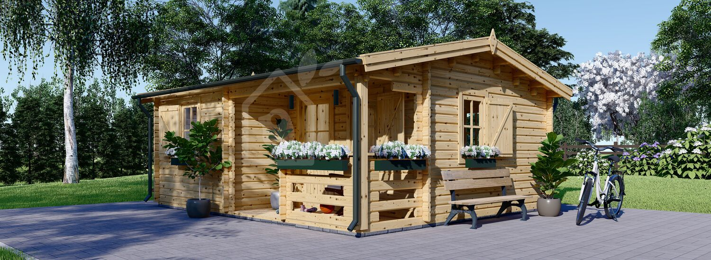 Gartenhaus aus Holz mit Terrasse NANTES (44 mm), 6x4.7 m, 24 m² + 3.5 m² visualization 1