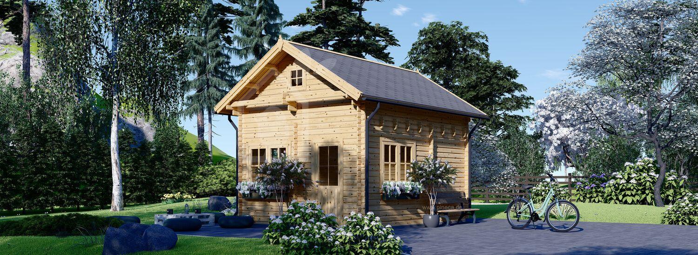 Blockbohlenhaus AVIGNON (44 mm) 5x4 m, 20 m² mit 16 m² Schlafboden visualization 1