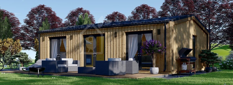 Blockbohlenhaus ANGELA (Isoliert, 44 mm + Holzverschalung, 50 m² visualization 1