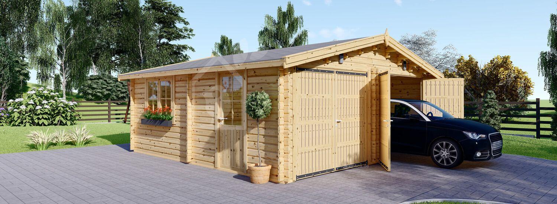 Doppelgarage aus Holz (44 mm), 6x6 m, 36 m² visualization 1