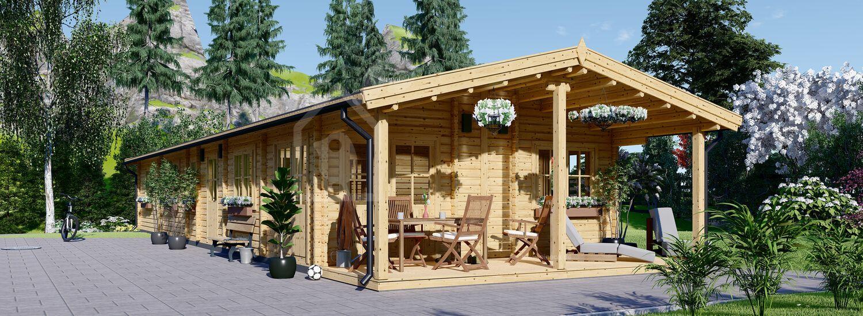 Mobilheim aus Holz BOSTON M (66 mm), 6x19 m, 114 m² visualization 1