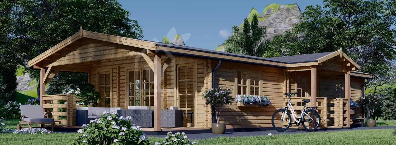 Blockbohlenhaus mit Terrasse DONNA (44+44 mm), 63 m² + 11.5 m² visualization 1