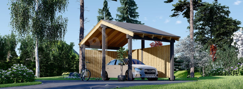 Carport aus Holz mit L-förmiger Wand LUNA, 3.2x6 m visualization 1
