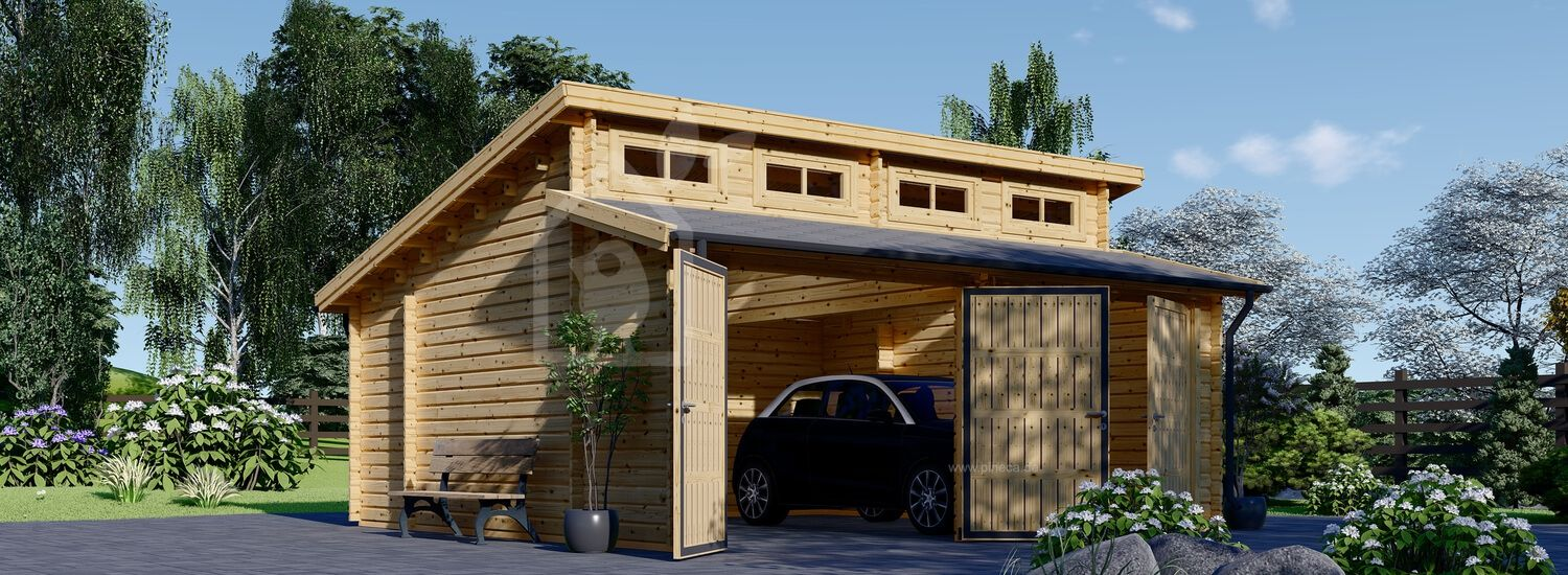 Doppelgarage aus Holz TWIN (44 mm) 6x6 m, 36 m² visualization 1