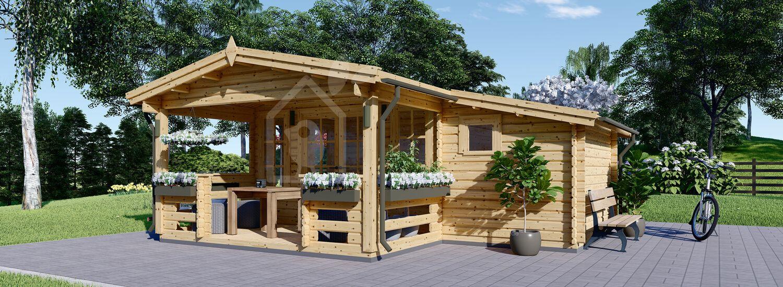 Blockbohlenhaus ISLA (Isoliert, 44+44 mm), 6x5 m, 18 m² + 7 m² Terrasse visualization 1