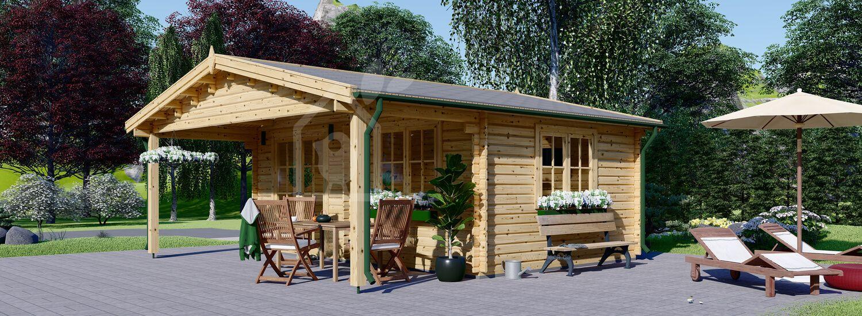 Gartenhaus aus Holz CAMILA (Isoliert, 44+44 mm), 6x6 m, 36 m² visualization 1