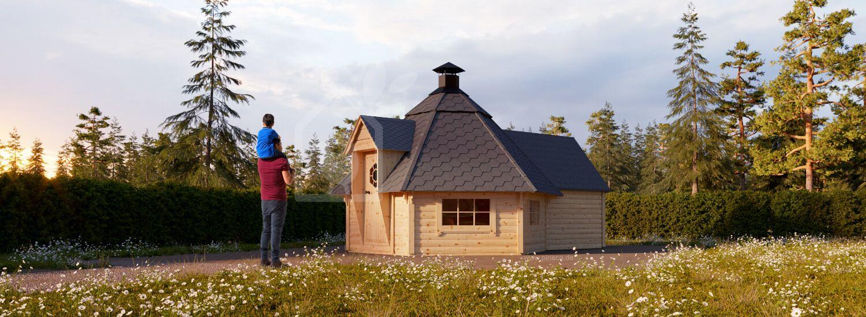 Grillhaus KOTA (44 mm) 9 m² mit Erweiterung  visualization 1