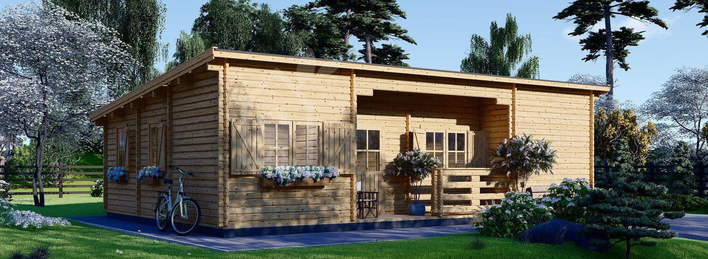 Blockbohlenhaus mit Flachdach UZES (Isoliert, 44+44 mm), 70 m² visualization 1
