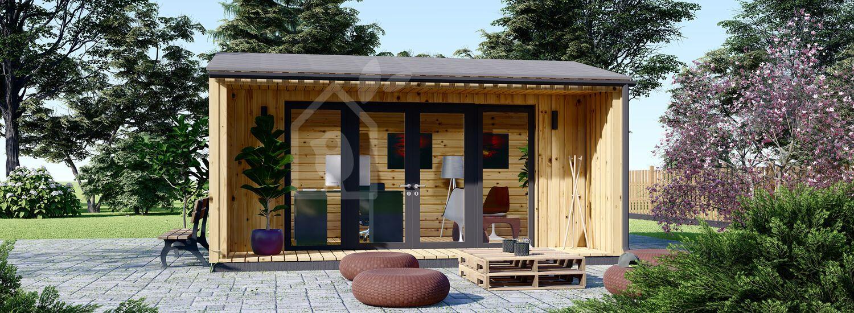 Gartenhaus als Büro TINA (Isoliert, 44 mm + Holzverschalung), 5.5x5 m, 22 m² visualization 1