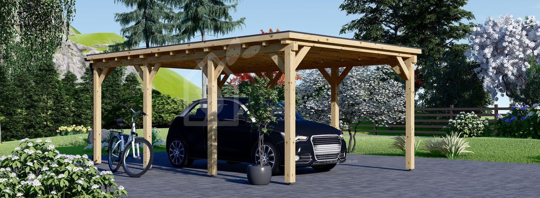 Carport aus Holz für 1 Auto MODERN, 3x6 m visualization 1