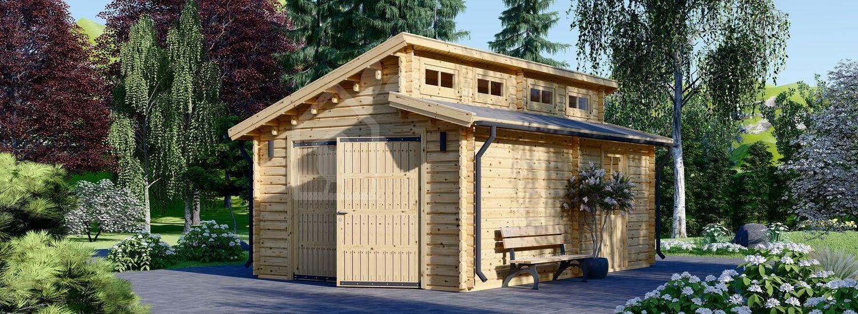 Holzgarage TWIN (44 mm) 4x6 m, 24 m² visualization 1