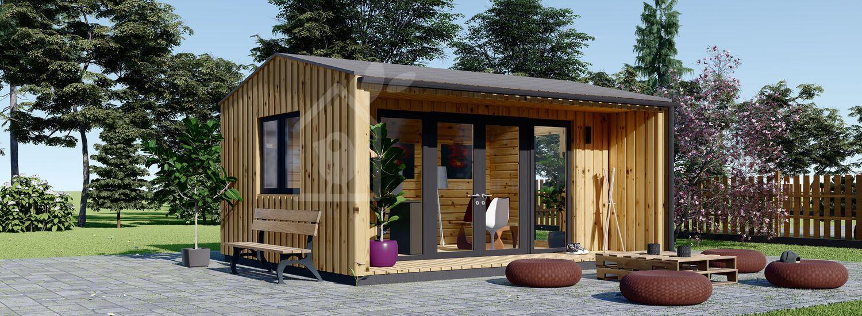 Gartenhaus als Büro TINA (44 mm + Holzverschalung ), 4x4 m, 12 m² visualization 1