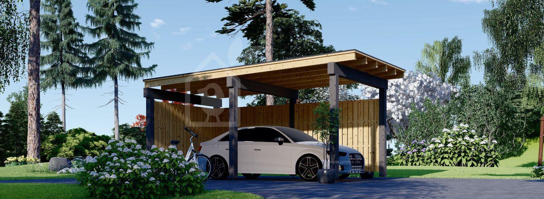 Carport aus Holz LUNA F mit L-förmiger Wand, 3.2x6 m visualization 1