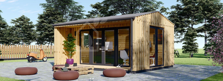 Gartenbüro TINA (44 mm + Holzverschalung), 5x4 m, 15 m² visualization 1