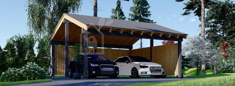 Carport aus Holz für 2 Autos mit L-förmiger Wand LUNA DUO, 6x6 m visualization 1