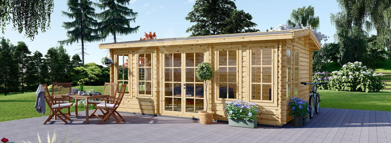 Gartenhaus aus Holz DEVON (Isoliert, 44+44 mm), 6x4 m, 24 m² visualization 1