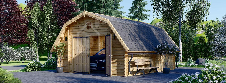 Holzgarage BARN (44 mm), 5x6 m, 30 m² visualization 1