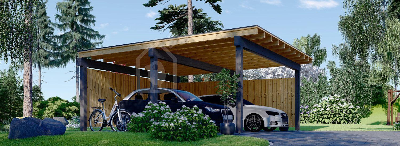 Carport aus Holz für 2 Autos mit L-förmiger Wand LUNA DUO F, 6x6 m visualization 1