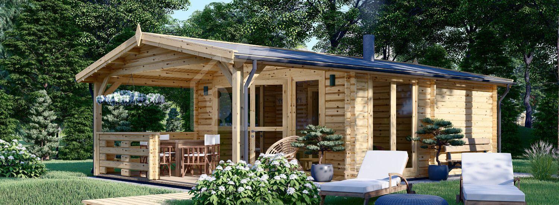 Gartensauna ELDA mit Terrasse (44 mm), 5x7,5 m; 25 m² + 12 m² (4 Räume) visualization 1