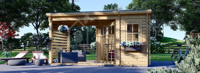 Gartenhaus aus Holz mit Terrasse AIDA PLUS (28 mm), 5x3 m, 9 m² + 6.5 m² visualization 1