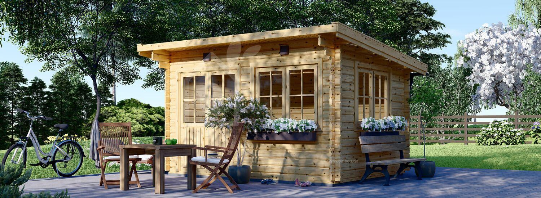 Gartenhaus aus Holz mit Flachdach LILLE (34 mm), 4x3 m, 12 m² visualization 1
