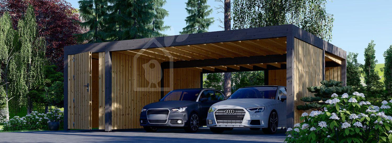 Carport aus Holz für 2 Autos mit Schuppen und Seitenwand LUNA DUO F PLUS, 7.6x5.6 m visualization 1
