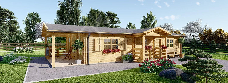 Blockbohlenhaus mit Terrasse DONNA (44 mm), 63 m² + 11.5 m² visualization 1