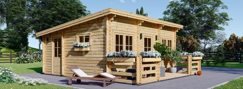 Blockbohlenhaus mit Flachdach und Terrasse ALTURA F (Isoliert, 44+44 mm), 31m² + 8 m² visualization 1