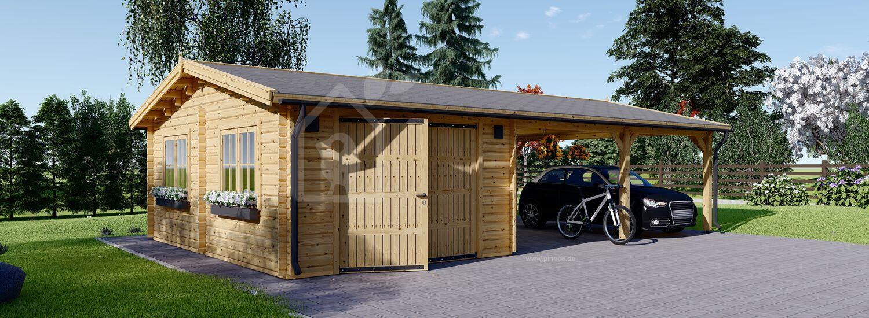 Holzgarage mit Doppelcarport (44 mm) 4x6 m + 5.5x6 m (Carport), 57 m² visualization 1