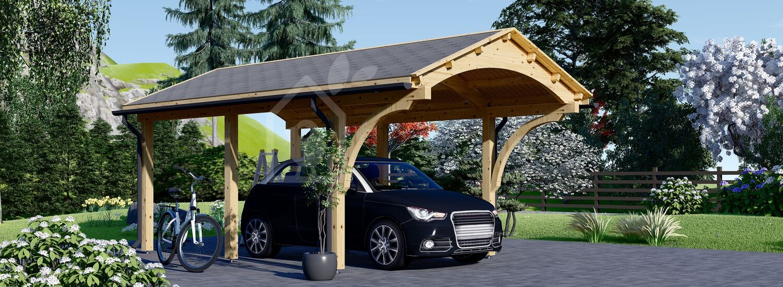 Carport aus Holz für 1 Auto BETSY, 3.6x6 m visualization 1