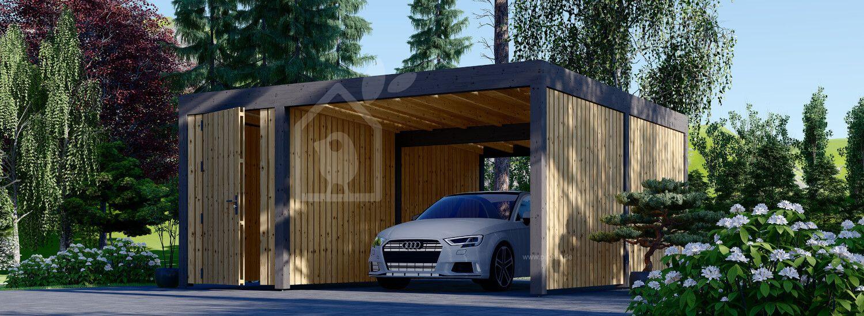 Carport aus Holz für 1 Auto mit Schuppen und Seitenwand LUNA F PLUS, 4.9x5.6 m visualization 1