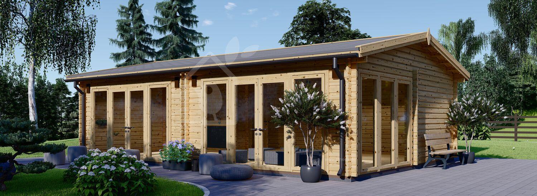 Blockbohlenhaus MARINA (44 mm), 8x6 m, 48 m² visualization 1