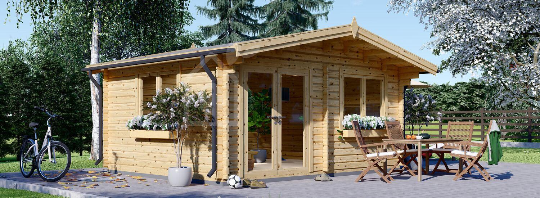 Gartenhaus aus Holz WISSOUS (Isoliert, 44+44 mm), 5x5 m, 25 m² visualization 1