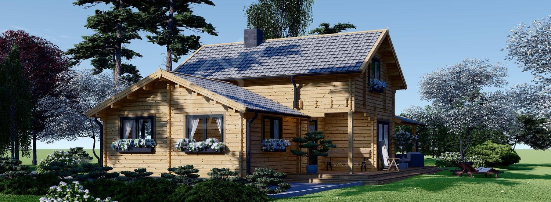 Holzhaus HOLLAND (Isoliert, 44+44 mm), 113 m² + 13 m² Terrasse visualization 1