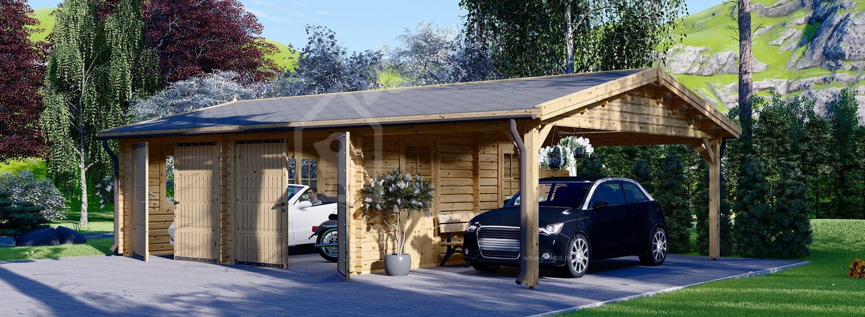 Doppelgarage aus Holz mit Carport (44 mm), 6x6 m + 3x6 m (Carport), 54 m² visualization 1