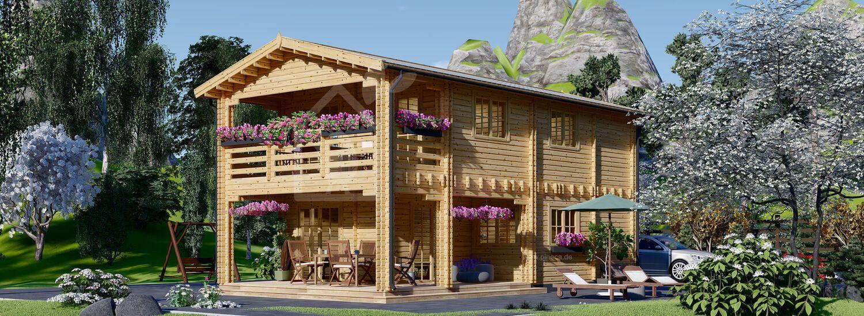 Blockbohlenhaus mit Terrasse TOULOUSE (Isoliert, 44+44 mm), 100 m² + 20 m² visualization 1