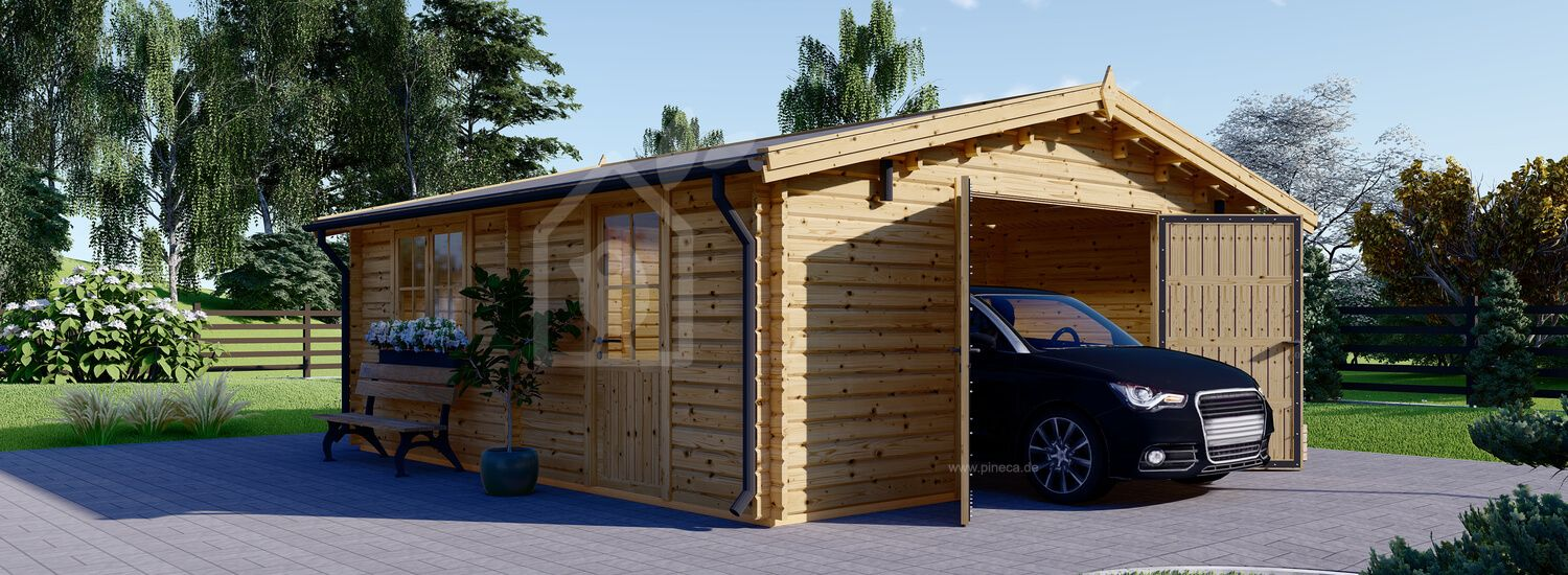 Holzgarage (44 mm) 6x5.7m,  34 m² / 75 m³ visualization 1