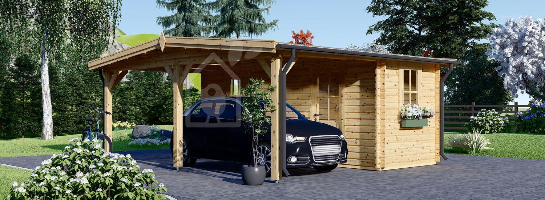 Carport aus Holz für 1 Auto mit Schuppen (44 mm), 5x6 m visualization 1