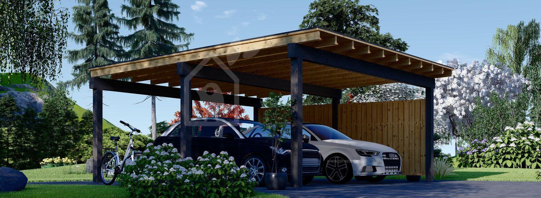 Carport aus Holz für 2 Autos mit Seitenwand LUNA DUO F, 6x6 m visualization 1