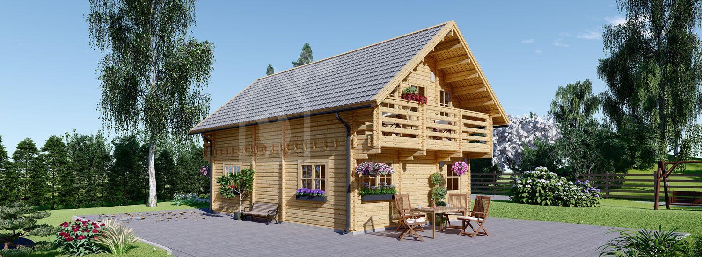 Holzhaus LANGON (Isoliert, 44+44 mm), 95 m² visualization 1